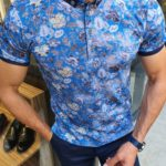 Aysoti Sax Slim Fit Button Collar Polo Shirt