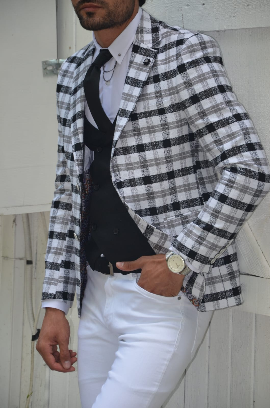 Aysoti Gray Slim Fit Plaid Blazer