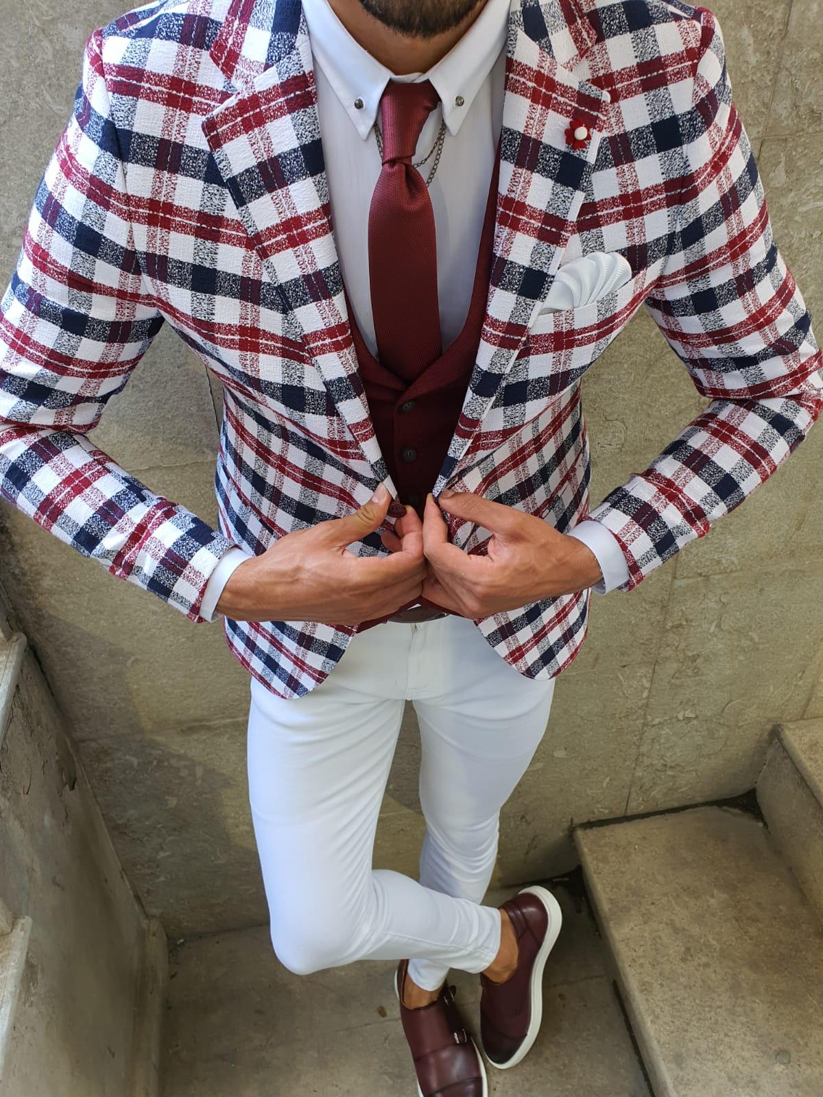 Aysoti Red Slim Fit Plaid Blazer