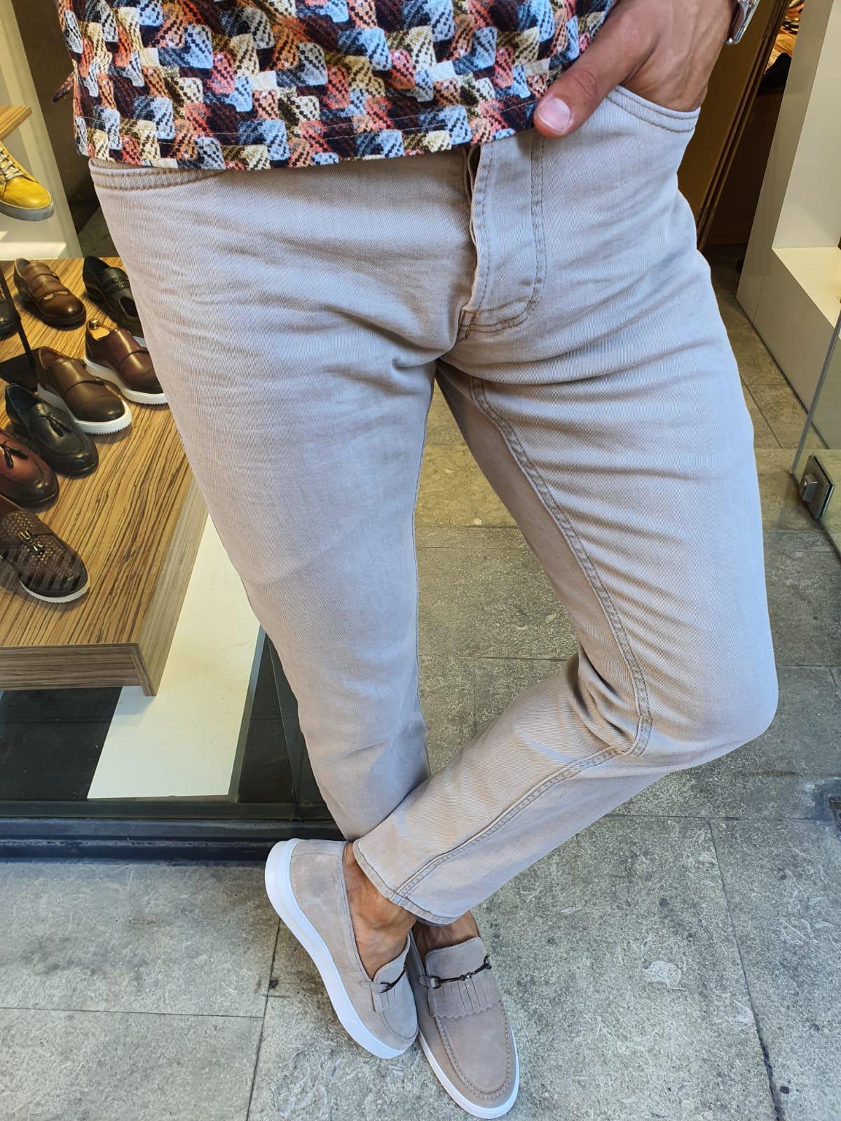 Aysoti Sparks Beige Slim Fit Handmade Jeans