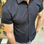 Aysoti Black Slim Fit Short Sleeve Shirt