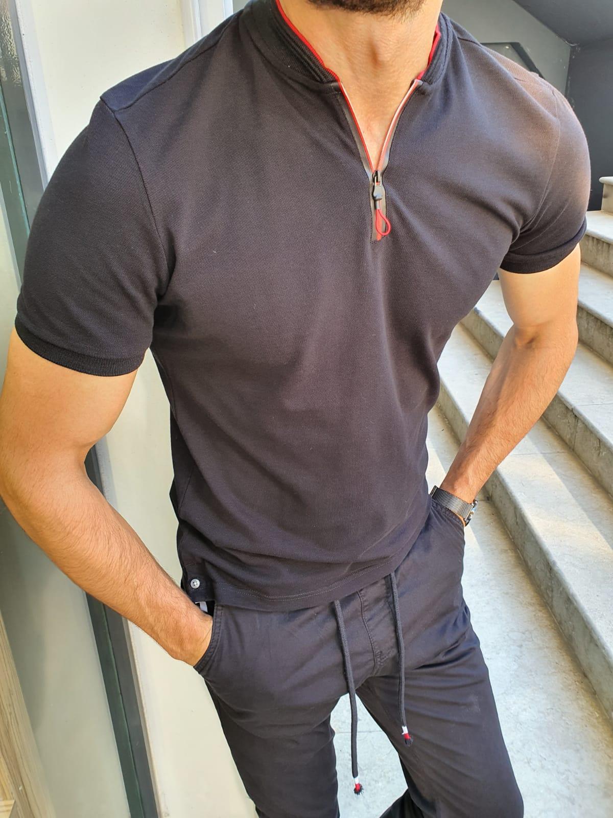 Aysoti Black Slim Fit Zipper T-Shirt