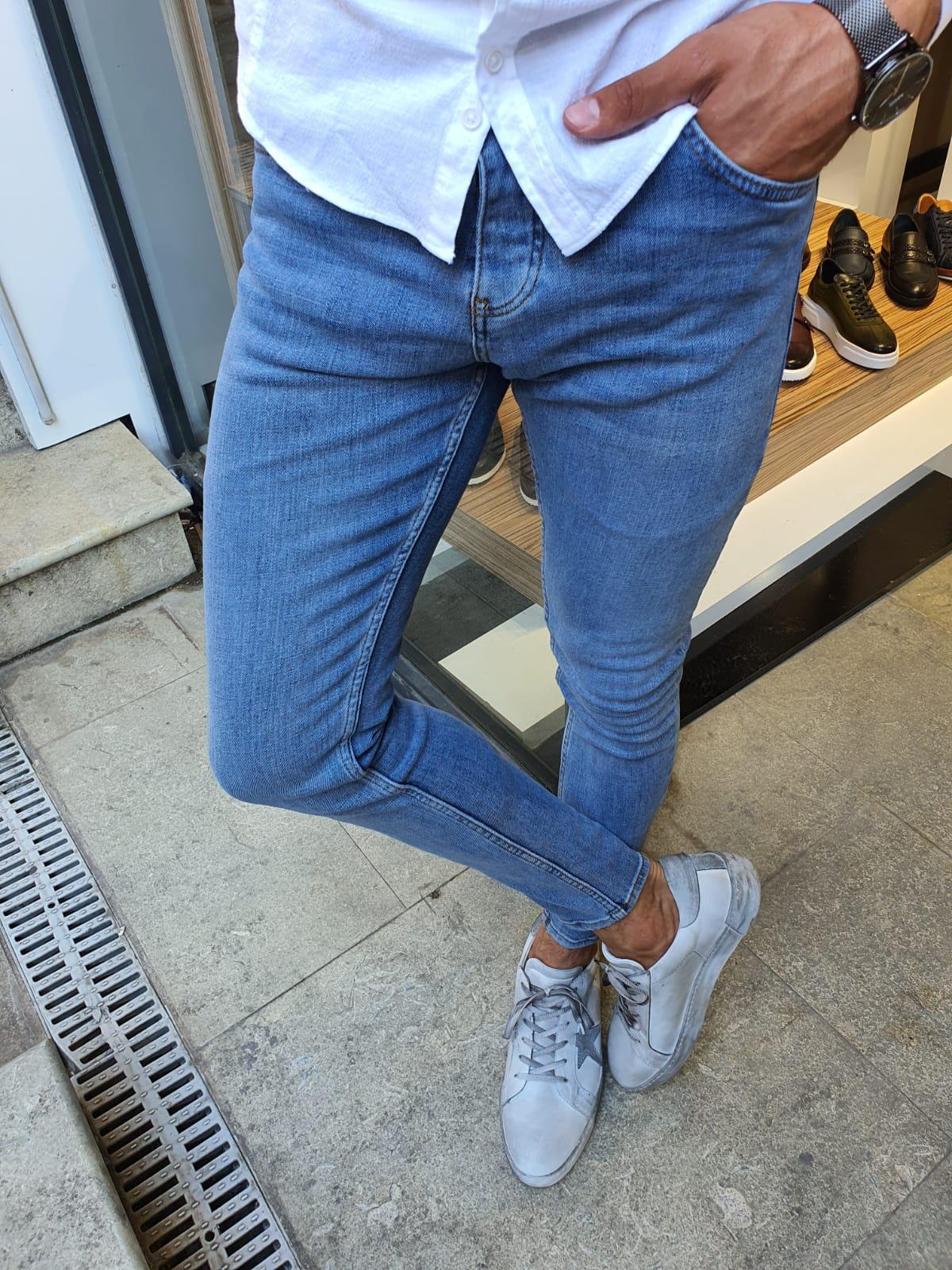 Brandon Sparks Blue Slim Fit Handmade Jeans