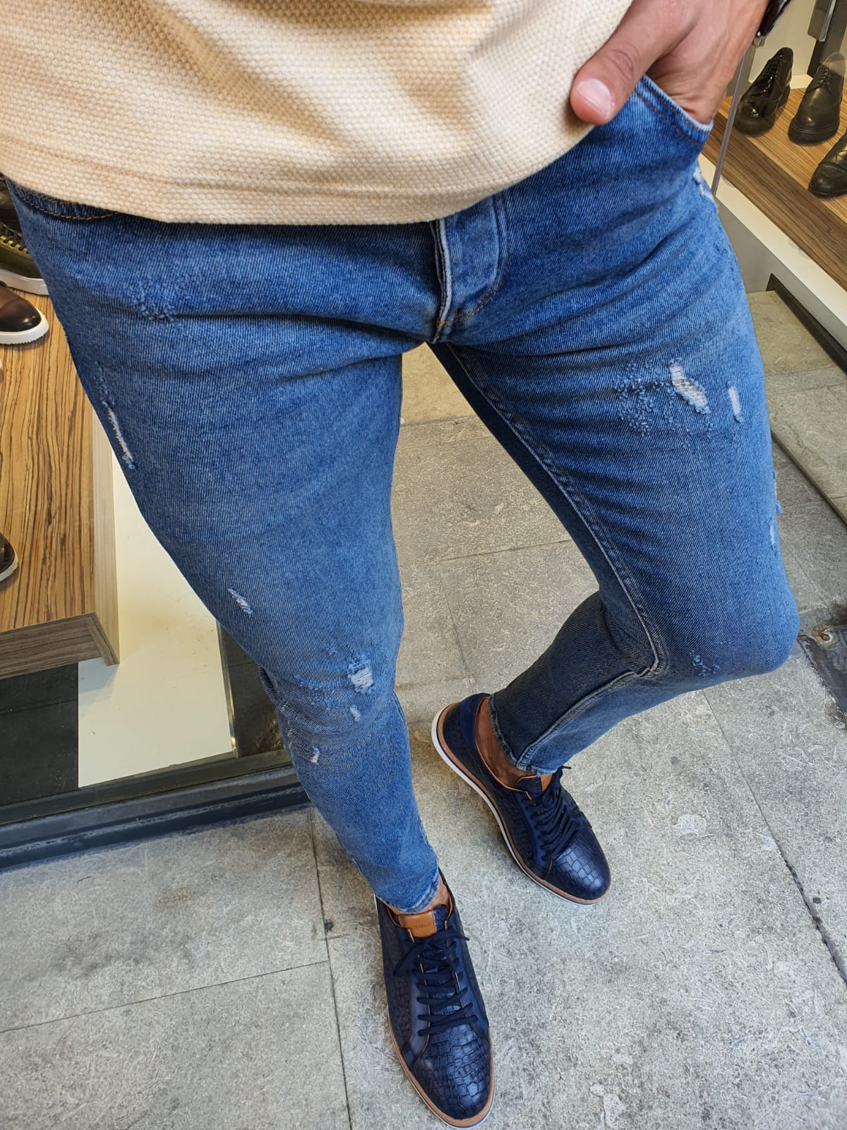 Aysoti Sparks Blue Slim Fit Handmade Ripped Jeans