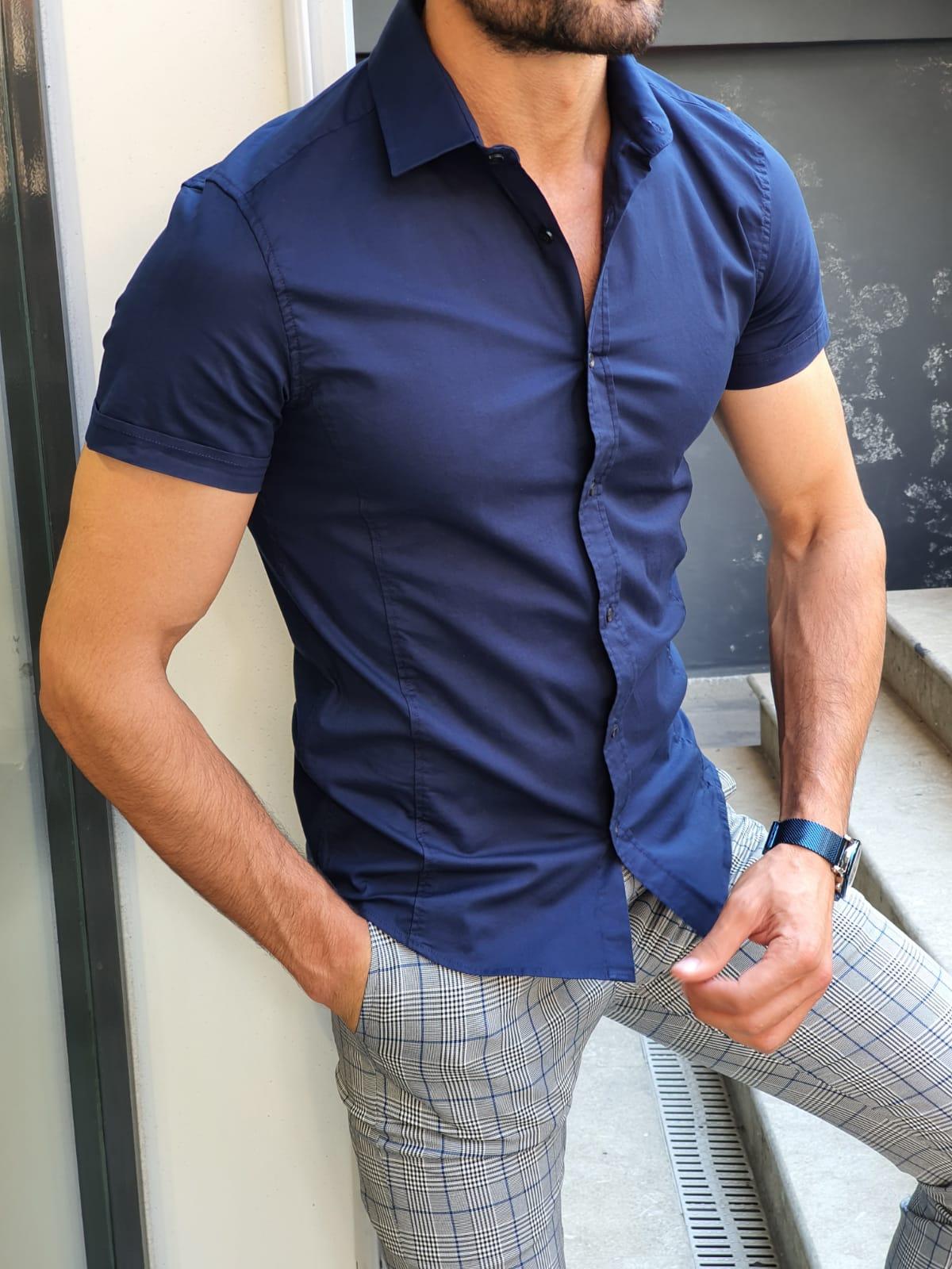 Aysoti Navy Blue Slim Fit Short Sleeve Shirt