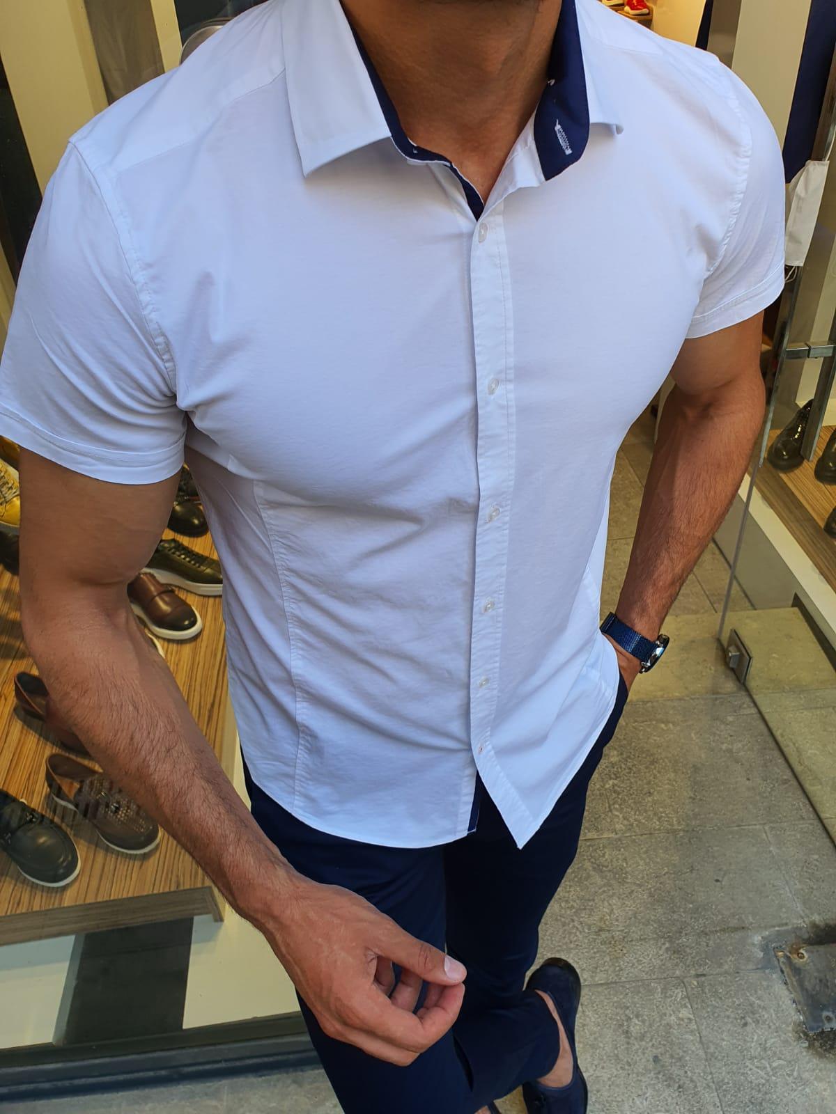 Aysoti White Slim Fit Short Sleeve Shirt