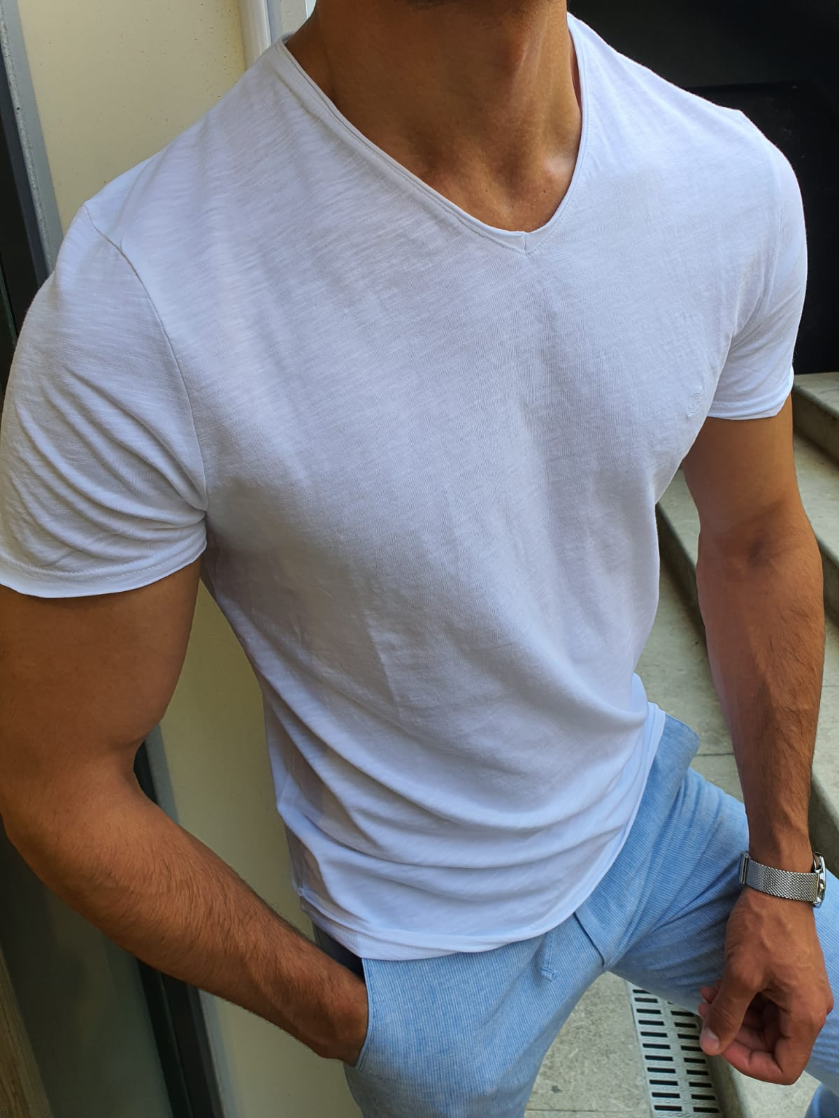 Aysoti White Slim Fit T-Shirt