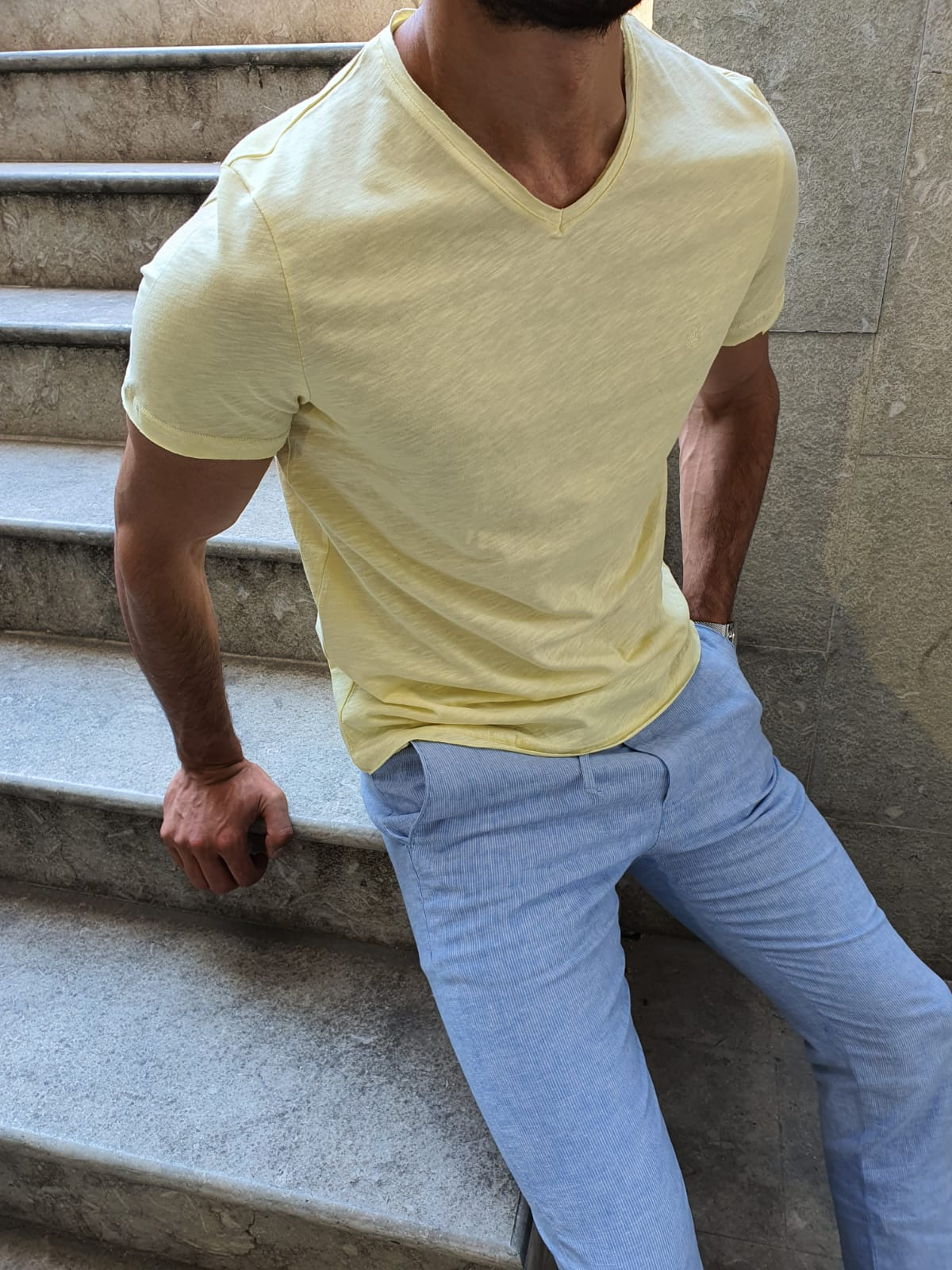 Aysoti Yellow Slim Fit T-Shirt