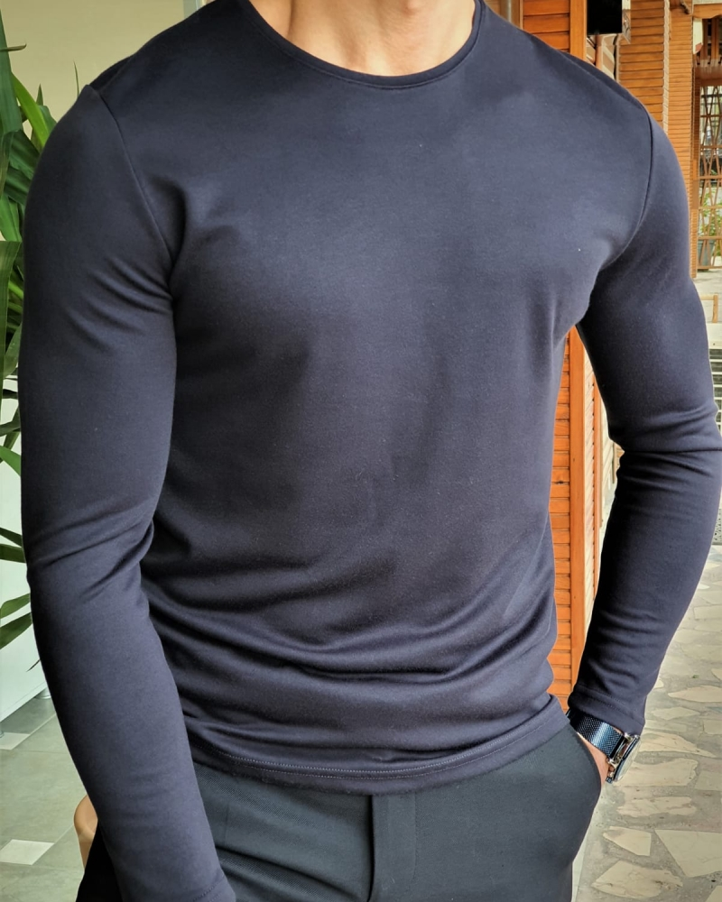 Aysoti Maglan Navy Blue Slim Fit Round Neck Sweater