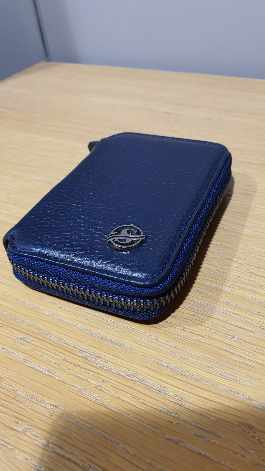 Aysoti Sardinelli Navyblue Zippered Leather Mini Wallet