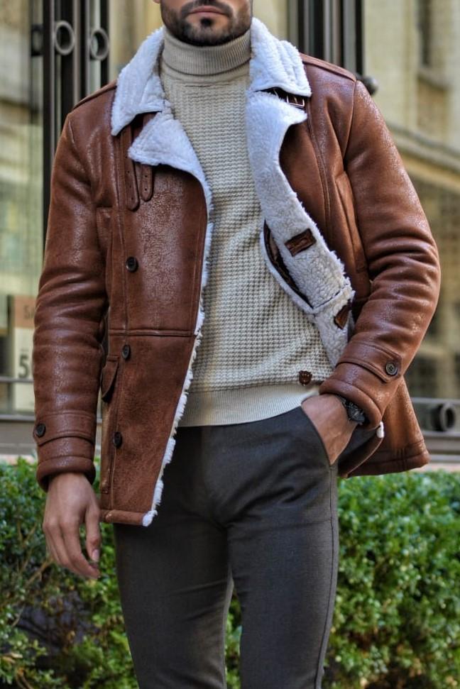 Aysoti Warren Camel Slim Fit Double Breasted Coat