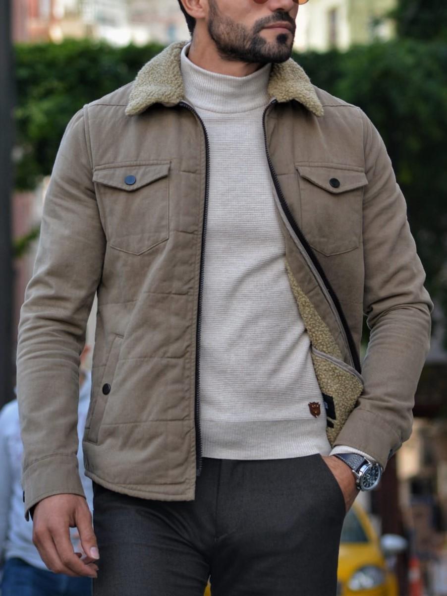 Aysoti Warren Beige Slim Fit Velvet Coat