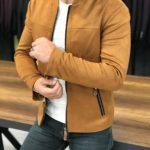 Aysoti Pelion Mustard Slim Fit Suede Coat