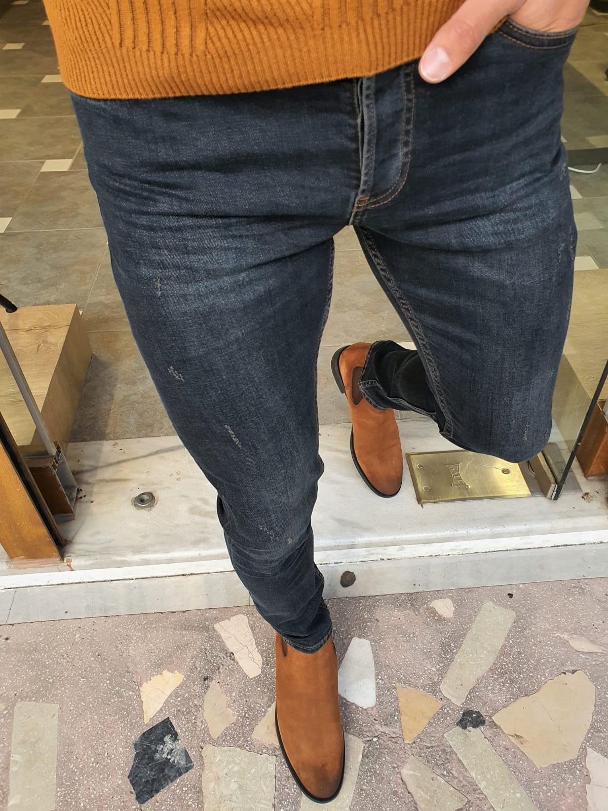 Aysoti Brandon Khaki Slim Fit Striped Jeans