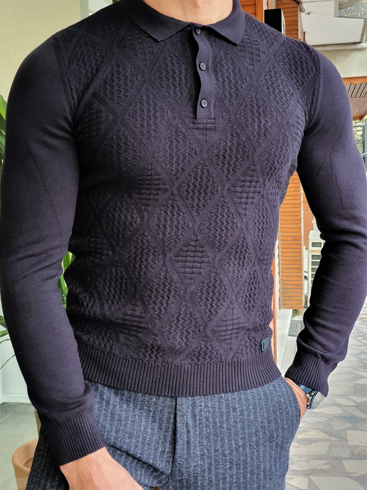 Aysoti Maglan Navy Blue Slim Fit Collar Sweater