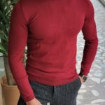 Aysoti Warren Claret Red Slim Fit Turtleneck Wool Sweater