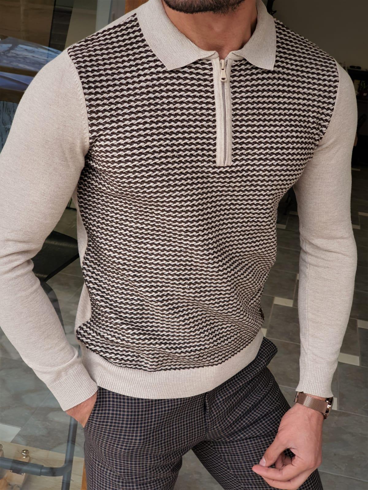 Aysoti Franklin Coffee Beige Slim Fit Zipper Collar Sweater