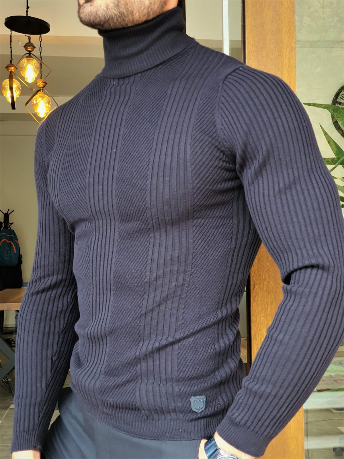 Aysoti Warren Navy Blue Slim Fit Striped Turtleneck Wool Sweater