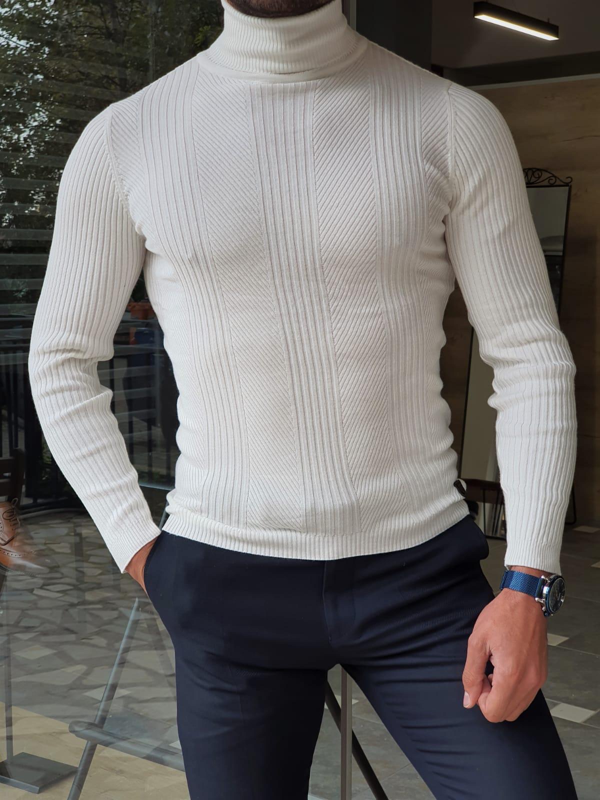 Aysoti Warren White Slim Fit Striped Turtleneck Wool Sweater