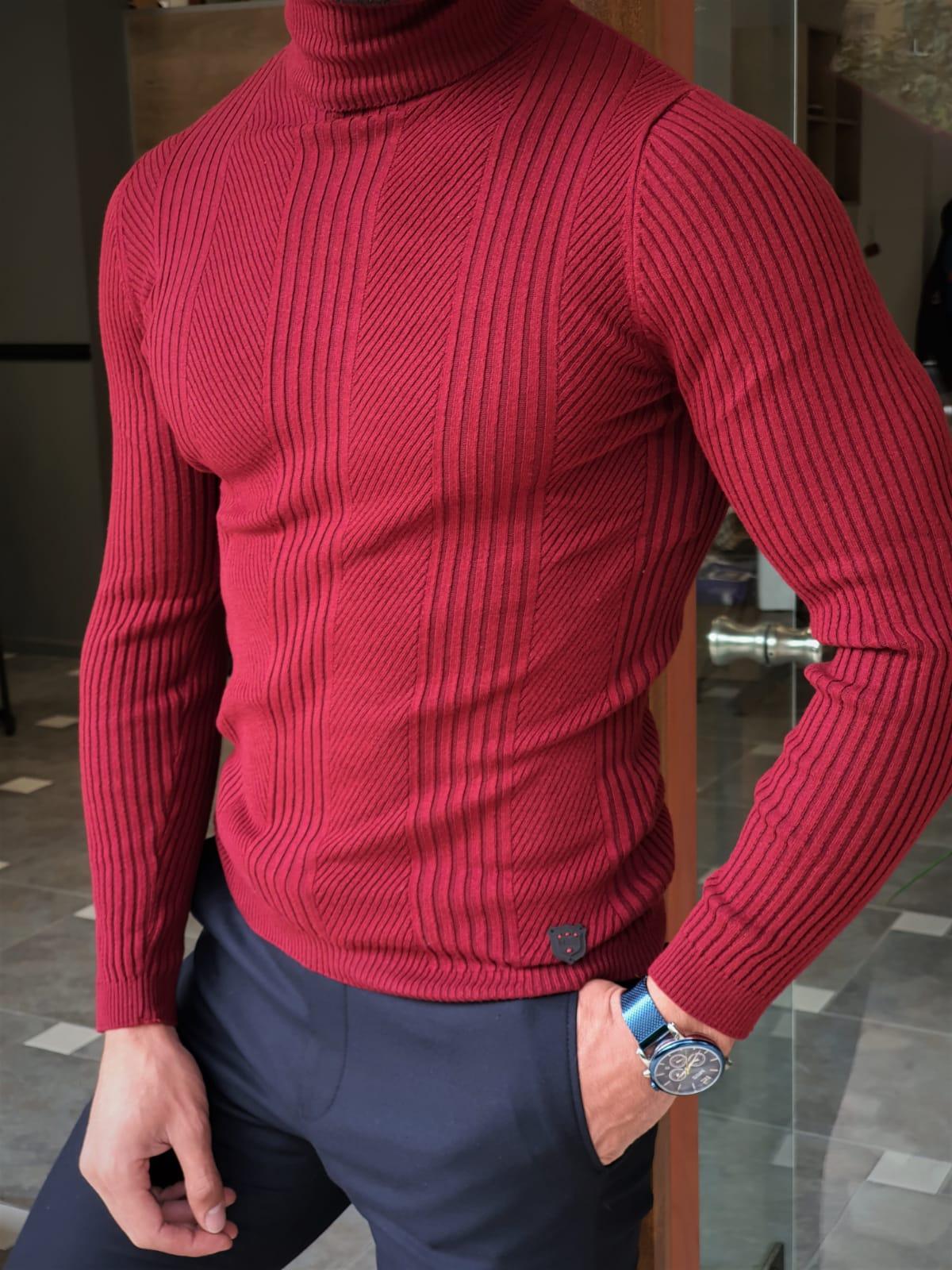 Aysoti Warren Claret Red Slim Fit Striped Turtleneck Wool Sweater