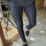 Aysoti Novak Navy Blue Slim Fit Pants