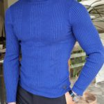 Aysoti Warren Sax Slim Fit Striped Turtleneck Wool Sweater
