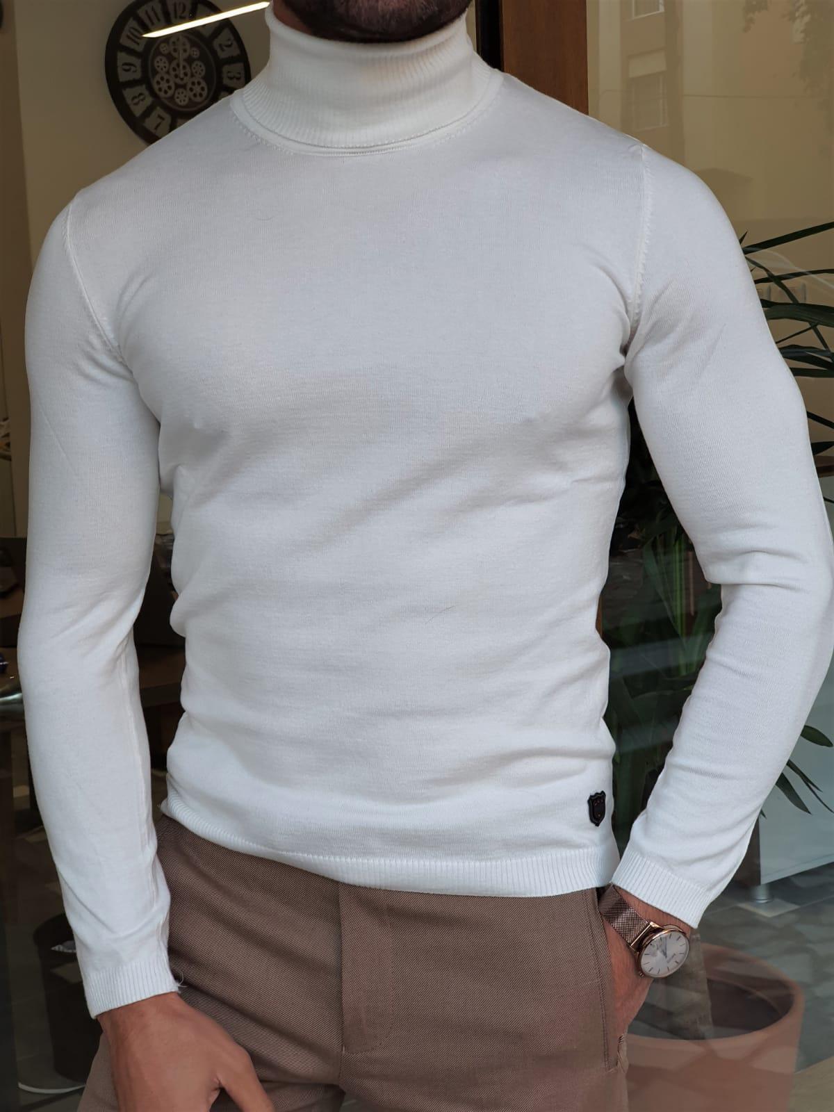 Aysoti Warren White Slim Fit Turtleneck Wool Sweater