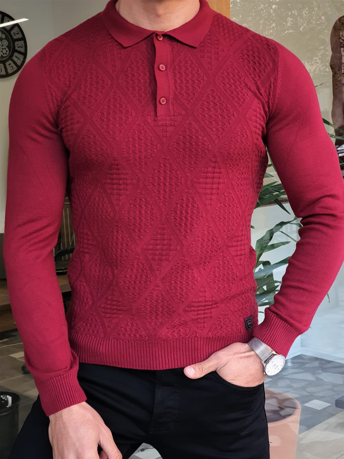 Aysoti Maglan Claret Red Slim Fit Collar Sweater