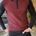 Aysoti Franklin Claret Red Slim Fit Zipper Collar Sweater