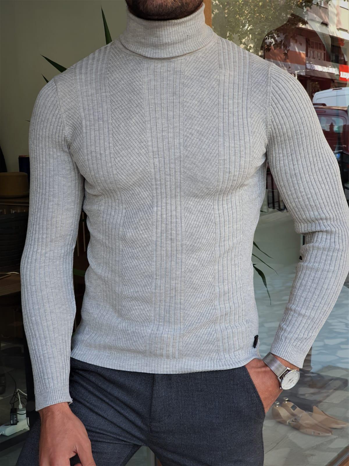 Aysoti Warren Gray Slim Fit Striped Turtleneck Wool Sweater