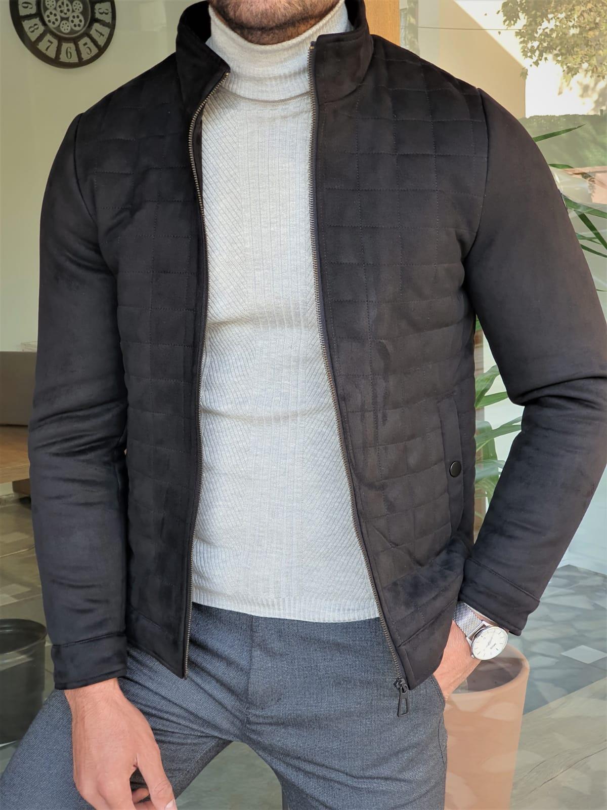 Aysoti Warren Black Slim Fit Wool Coat
