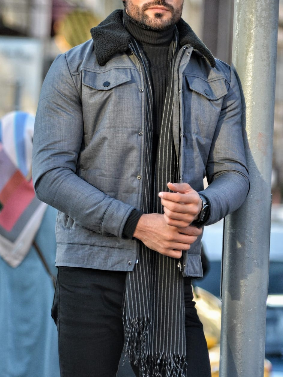Aysoti Warren Gray Slim Fit Wool Coat