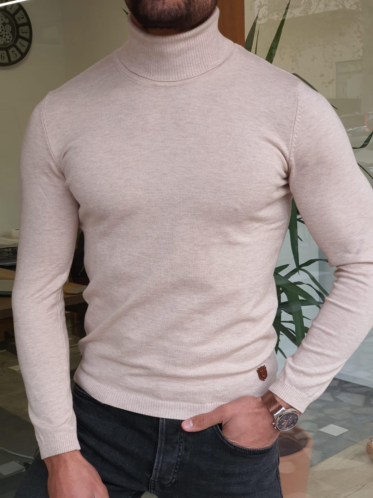 Aysoti Manley Beige Slim Fit Turtleneck Wool Sweater