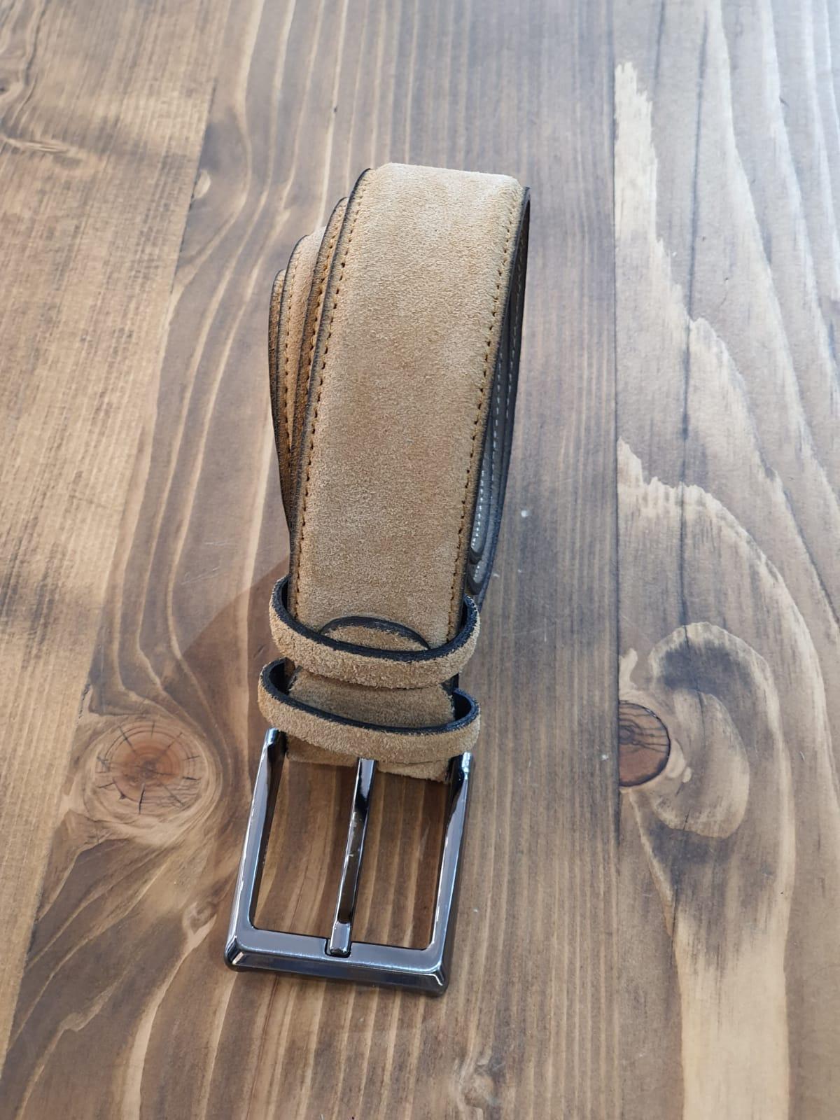 Aysoti Camel Suede Leather Belt