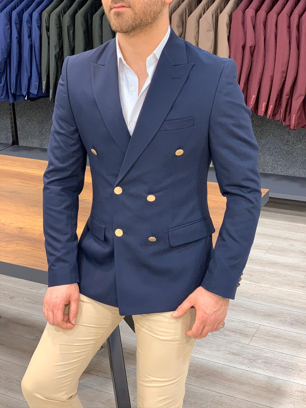 Aysoti Navy Blue Slim Fit Double Breasted Jacket