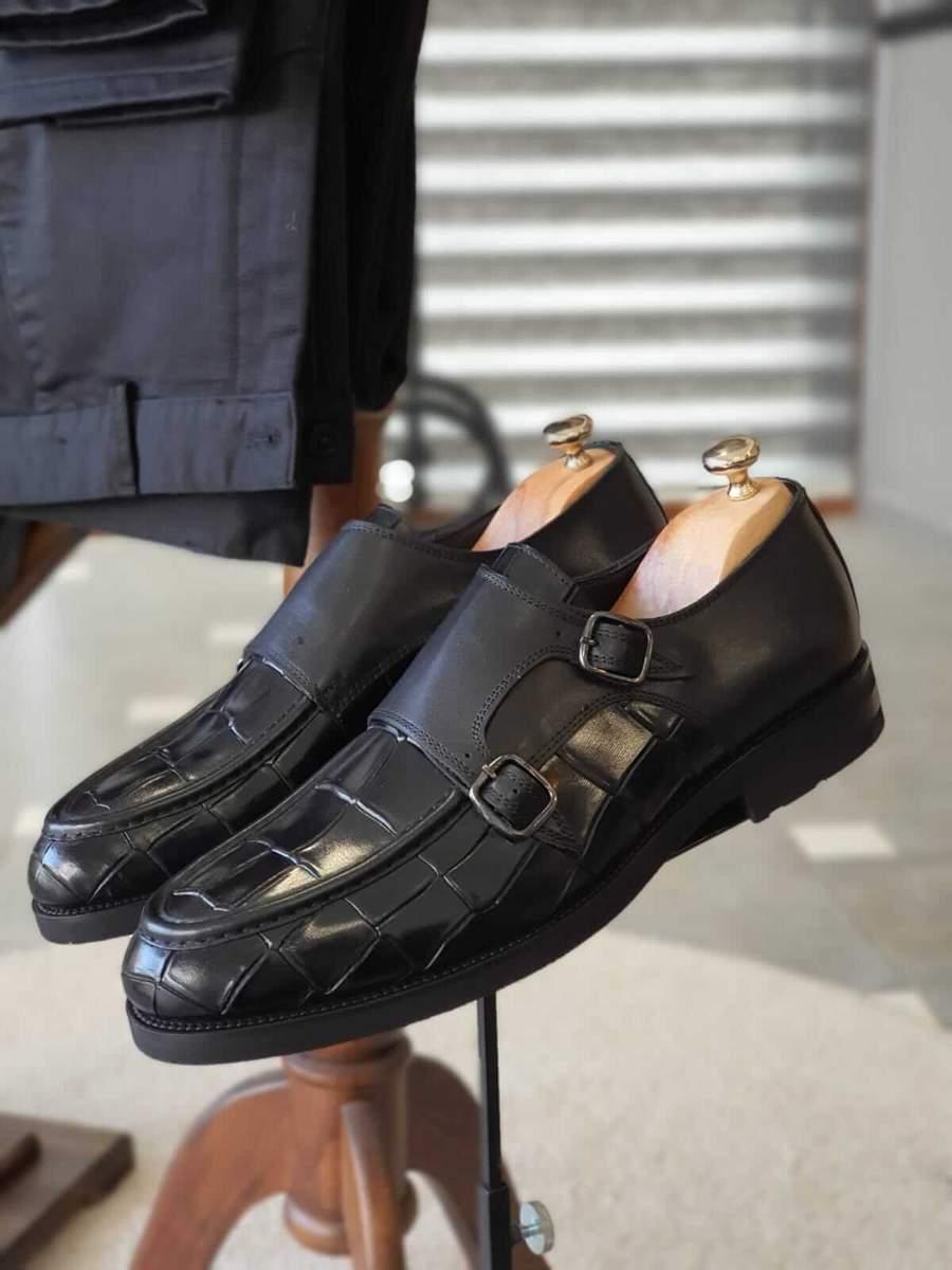 Aysoti Becksbourne Black Monk Strap Loafers