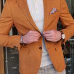 Aysoti Becksbourne Brown Slim Fit Cotton Blazer