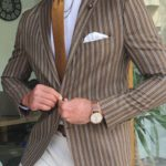 Aysoti Becksbourne Brown Slim Fit Striped Blazer