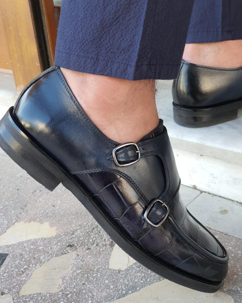 Aysoti Becksbourne Navy Blue Monk Strap Loafers