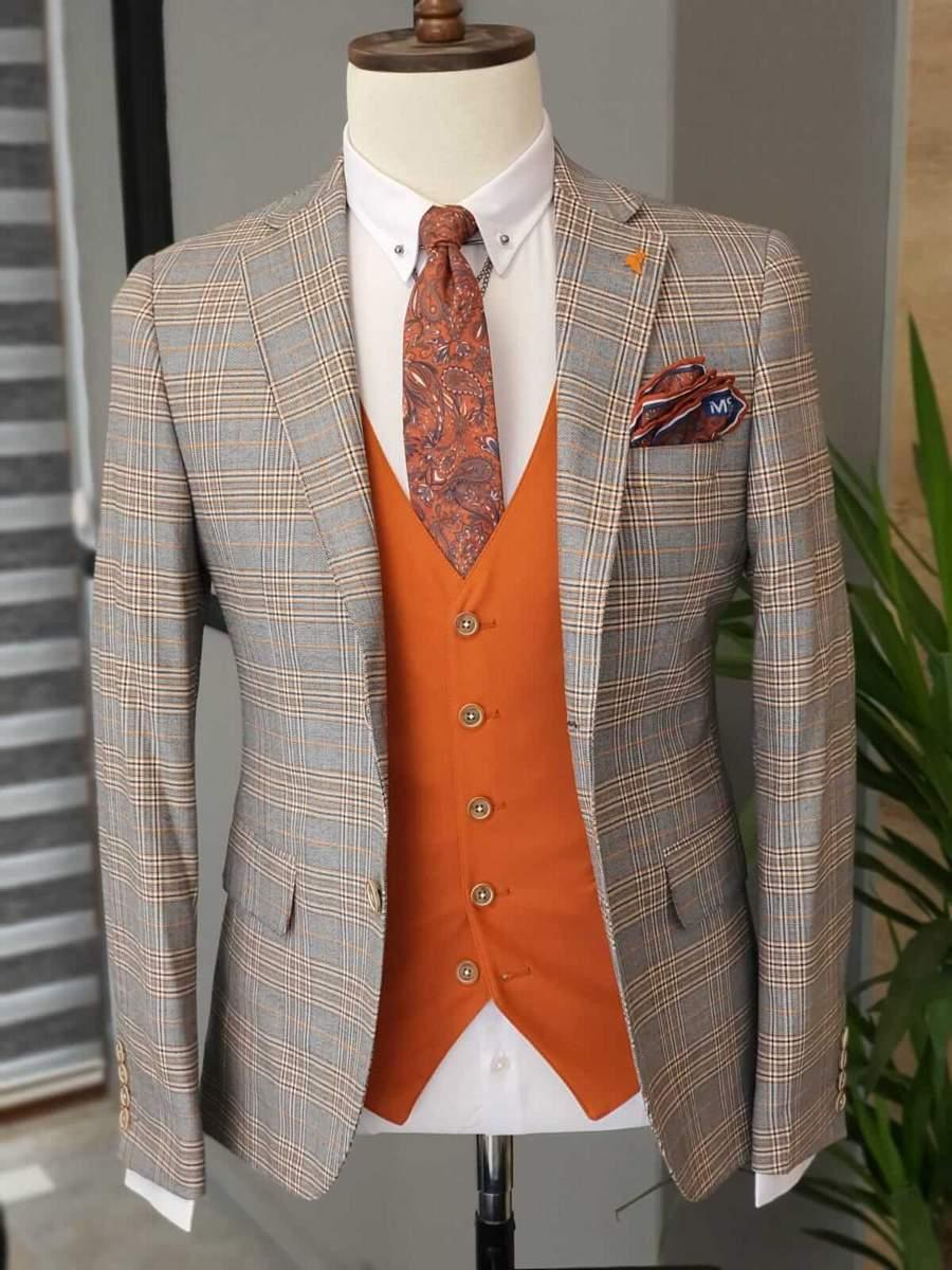 Aysoti Becksbourne Orange Slim Fit Plaid Suit