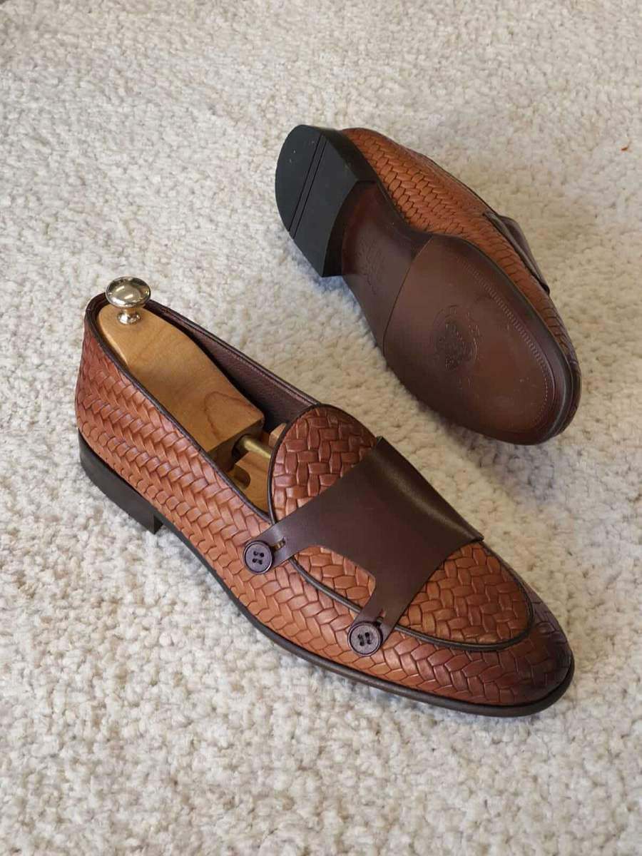 Tan-Woven-Leather-Double-Monk-Strap-Loafers
