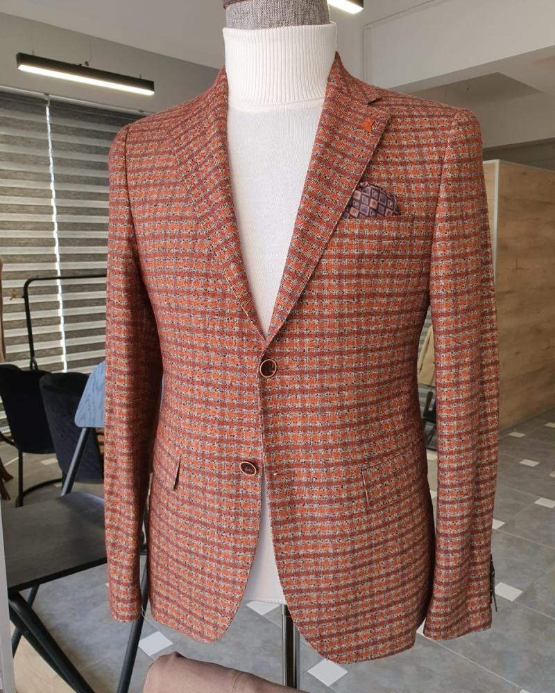 Aysoti Becksbourne Tile Slim Fit Plaid Wool Blazer