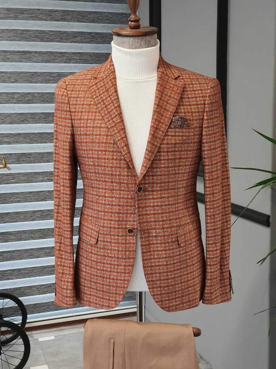 Aysoti Becksbourne Tile Slim Fit Plaid Wool Suit