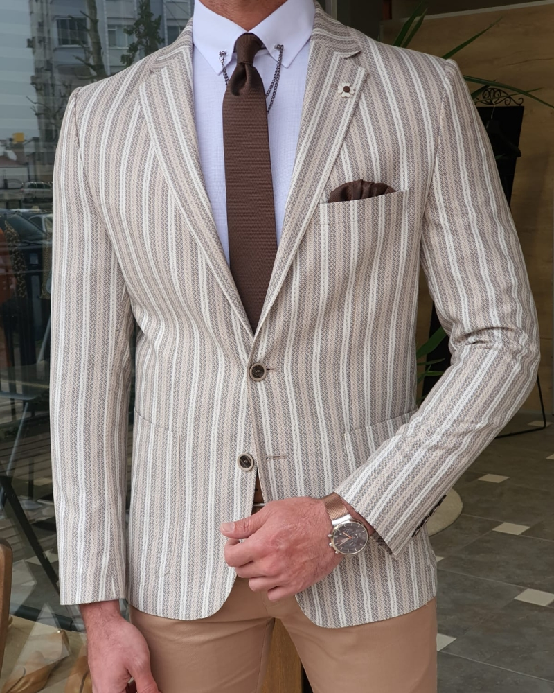 Aysoti Becksbourne White Slim Fit Striped Blazer