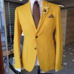 Aysoti Becksbourne Yellow Slim Fit Cotton Blazer