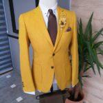 Aysoti Becksbourne Yellow Slim Fit Cotton Suit