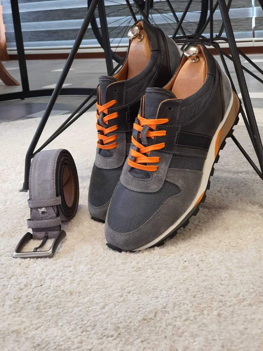 Aysoti Darlington Gray Suede Leather Mid-Top Sneakers