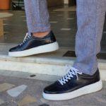 Aysoti Darlington Navy Blue Mid-Top Sneakers