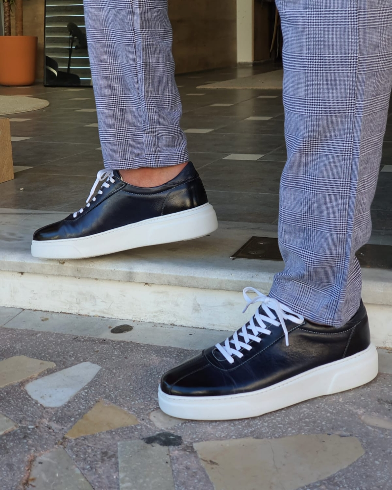 Aysoti Darlington Navy Blue Mid-Top Sneakers