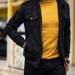 Aysoti Franklin Black Slim Fit Wool Coat